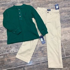 NWT Polo Ralph Lauren Green Shirt Khaki Set Size 4